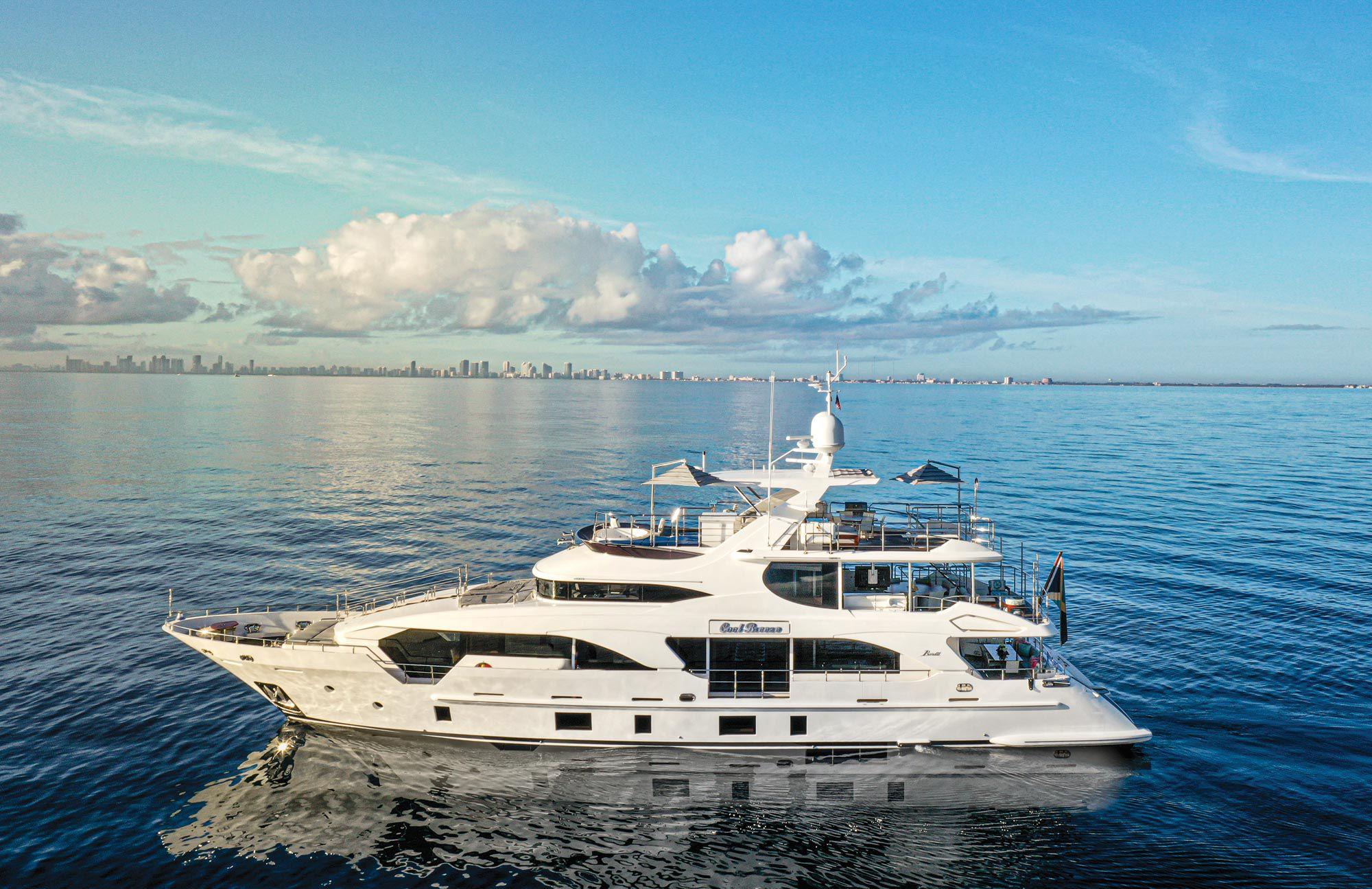 This 108-foot Benetti charters through Ocean Independence. The yacht accommodates 10 guests in five staterooms, including a main-deck owner's stateroom.