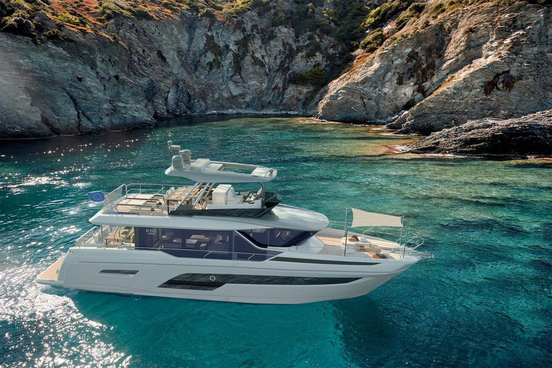 The Prestige X60 can be outfitted with three guest staterooms, two or three heads and a captain's cabin aft. The yacht is slated to debut at the Miami International Boat Show.