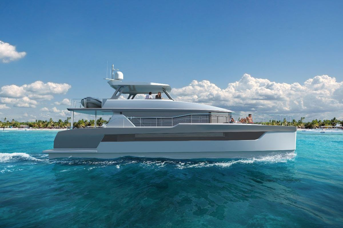 There are four staterooms aboard the Two Oceans 555 Power Catamaran, including a foredeck master with a king-sized, walk-around berth.