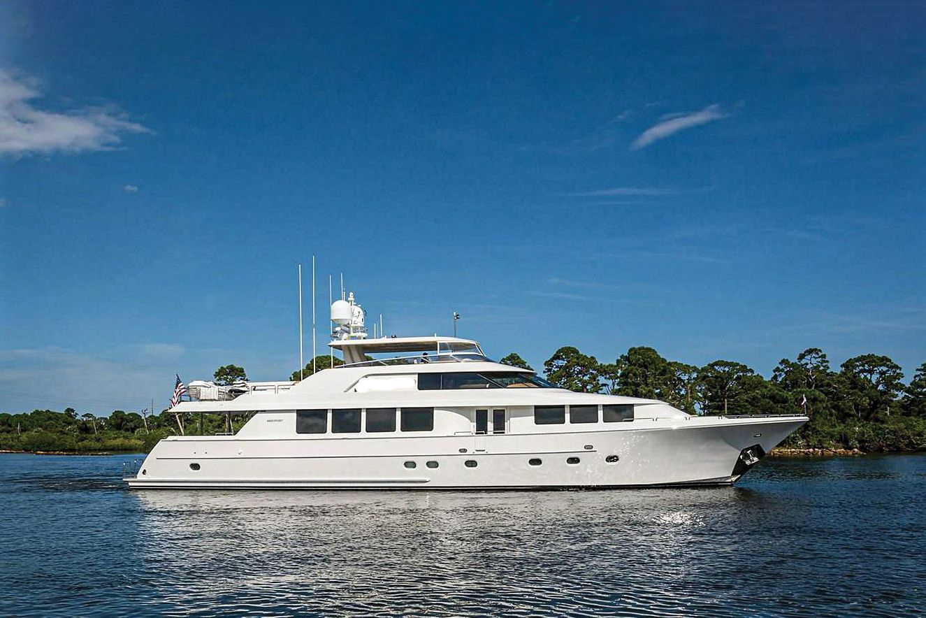 RJC Yachts says this 112-foot Westport had interior and exterior refit work completed earlier this year. Accommodations are for eight guests in four staterooms.